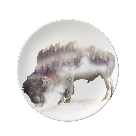 Buffalo-double exposure-american buffalo-landscape porcelain plates