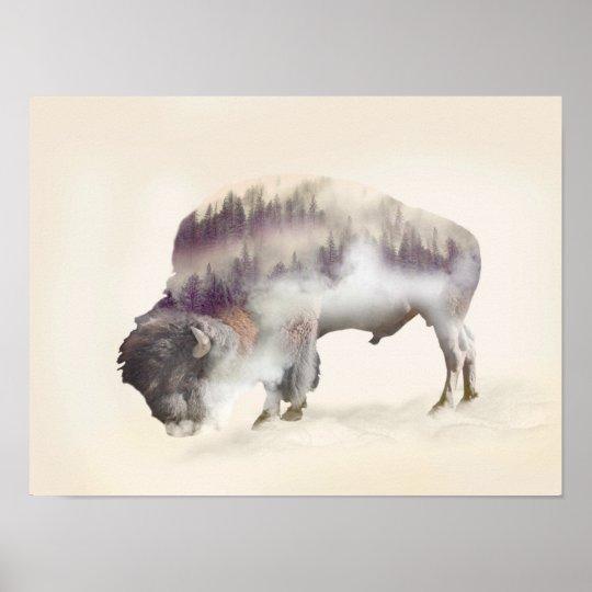 Buffalo-double exposure-american buffalo-landscape poster