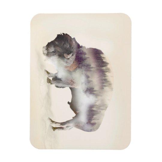 Buffalo-double exposure-american buffalo-landscape rectangular photo magnet