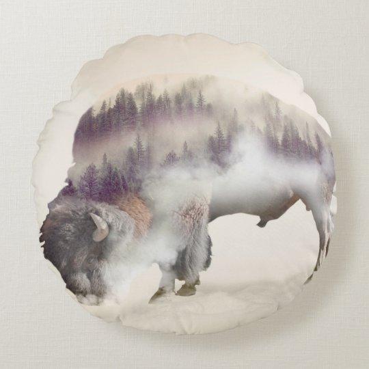 Buffalo-double exposure-american buffalo-landscape round pillow