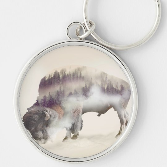 Buffalo-double exposure-american buffalo-landscape Silver-Colored round keychain