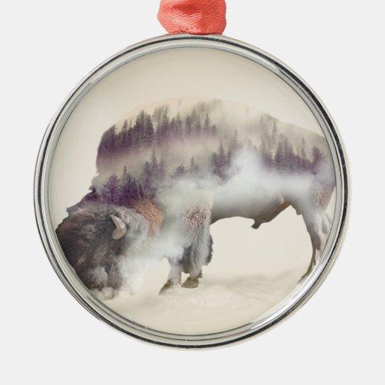 Buffalo-double exposure-american buffalo-landscape Silver-Colored round ornament