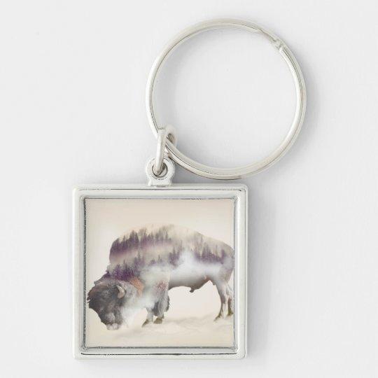 Buffalo-double exposure-american buffalo-landscape Silver-Colored square keychain