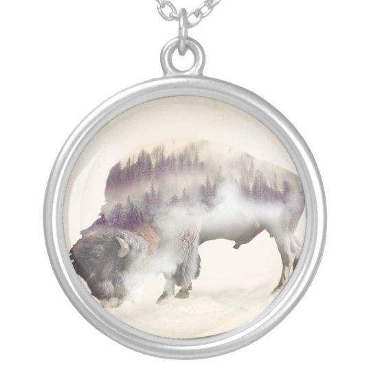 Buffalo-double exposure-american buffalo-landscape silver plated necklace