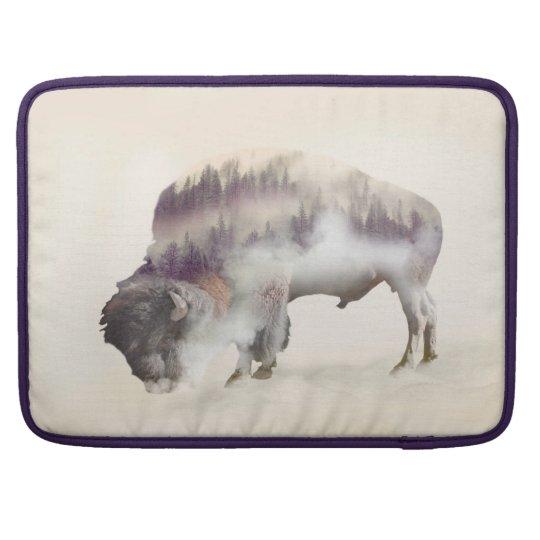 Buffalo-double exposure-american buffalo-landscape sleeve for MacBook pro