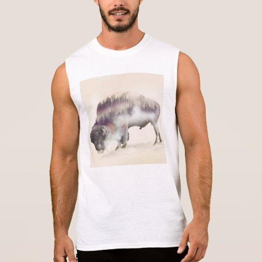 Buffalo-double exposure-american buffalo-landscape sleeveless shirt