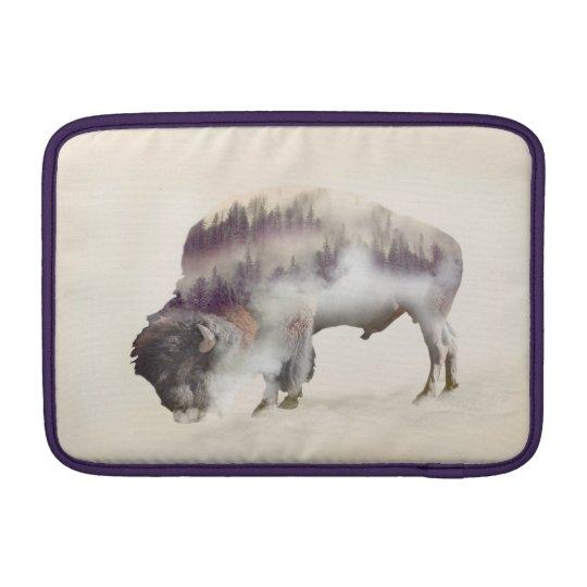 Buffalo-double exposure-american buffalo-landscape sleeves for MacBook air