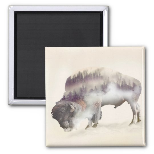 Buffalo-double exposure-american buffalo-landscape square magnet