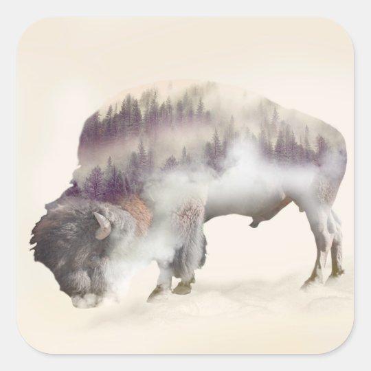 Buffalo-double exposure-american buffalo-landscape square sticker