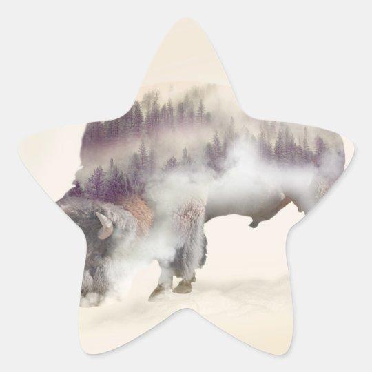 Buffalo-double exposure-american buffalo-landscape star sticker