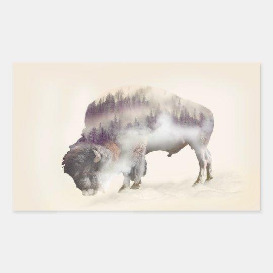 Buffalo-double exposure-american buffalo-landscape sticker