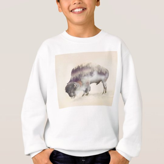 Buffalo-double exposure-american buffalo-landscape sweatshirt