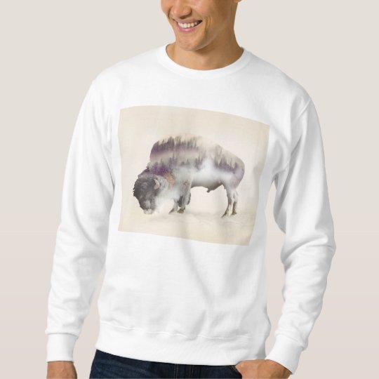 Buffalo-double exposure-american buffalo-landscape sweatshirt