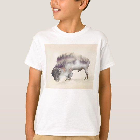 Buffalo-double exposure-american buffalo-landscape T-Shirt