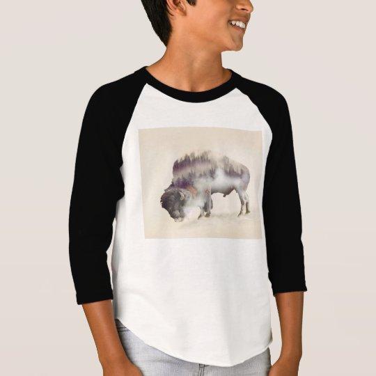 Buffalo-double exposure-american buffalo-landscape T-Shirt