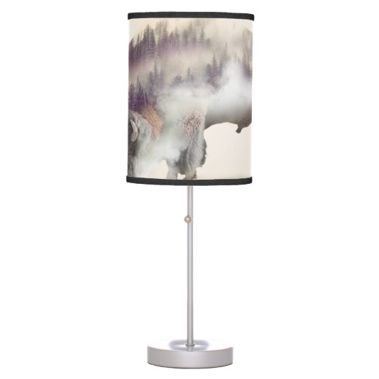 Buffalo-double exposure-american buffalo-landscape table lamps