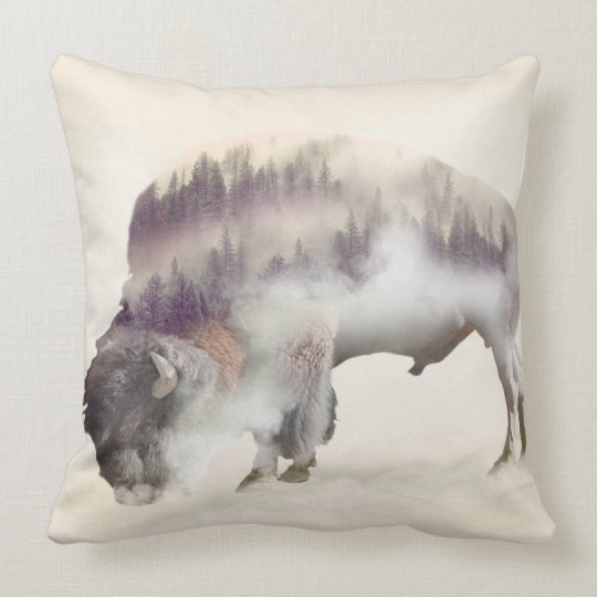 Buffalo-double exposure-american buffalo-landscape throw pillow