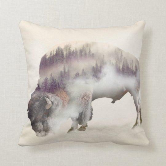 Buffalo-double exposure-american buffalo-landscape throw pillow