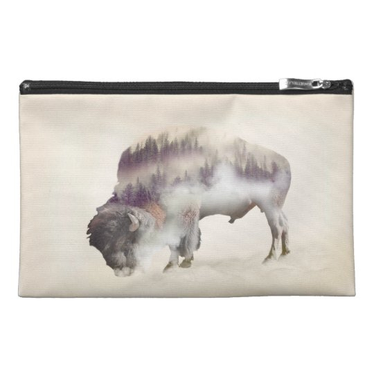 Buffalo-double exposure-american buffalo-landscape travel accessories bag