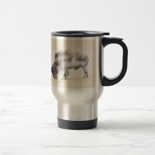 Buffalo-double exposure-american buffalo-landscape travel mug