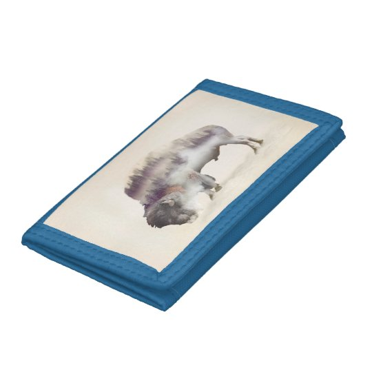 Buffalo-double exposure-american buffalo-landscape tri-fold wallets