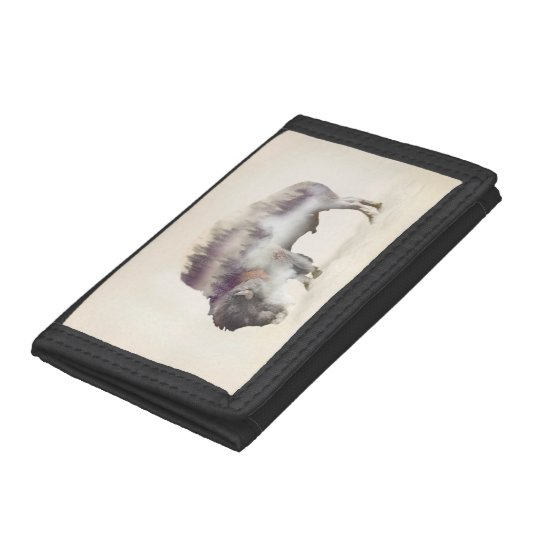 Buffalo-double exposure-american buffalo-landscape trifold wallet