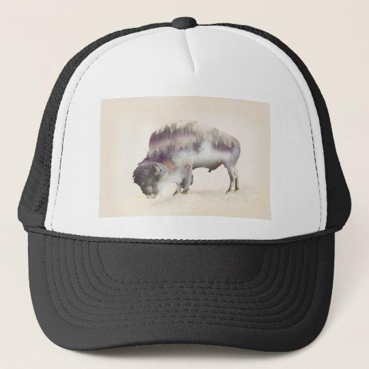 Buffalo-double exposure-american buffalo-landscape trucker hat