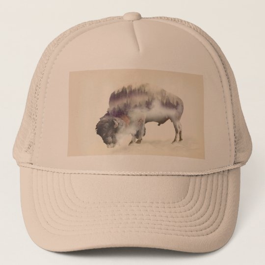 Buffalo-double exposure-american buffalo-landscape trucker hat