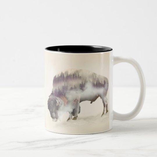 Buffalo-double exposure-american buffalo-landscape Two-Tone coffee mug