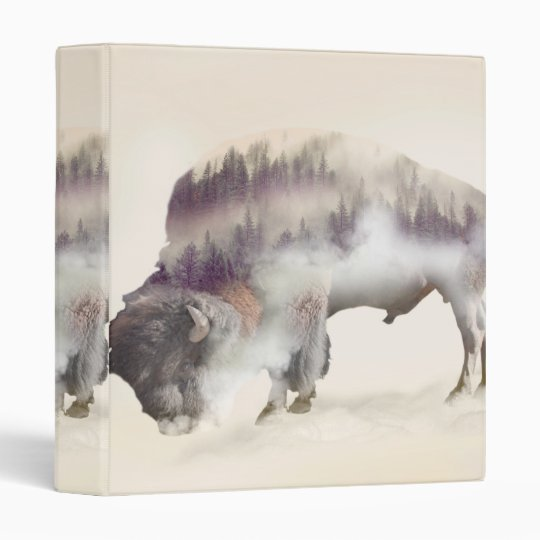 Buffalo-double exposure-american buffalo-landscape vinyl binder