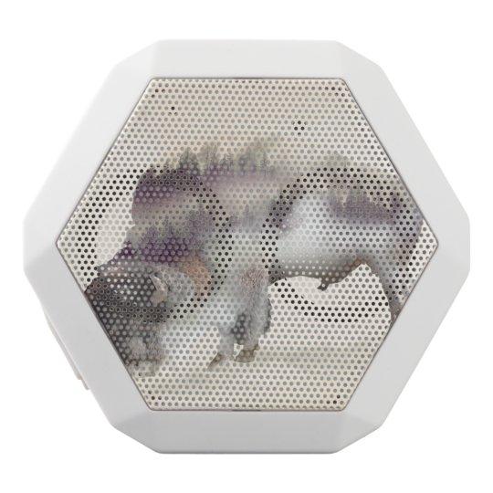 Buffalo-double exposure-american buffalo-landscape white bluetooth speaker