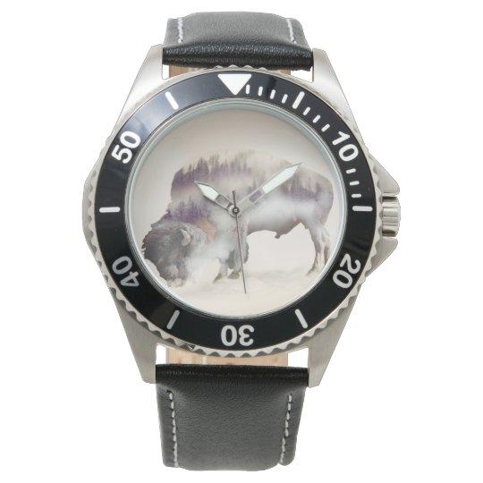 Buffalo-double exposure-american buffalo-landscape wrist watch