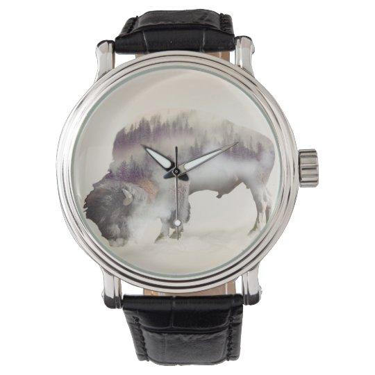 Buffalo-double exposure-american buffalo-landscape wrist watches