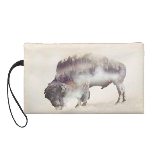 Buffalo-double exposure-american buffalo-landscape wristlet clutch