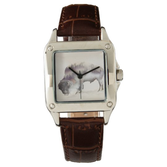 Buffalo-double exposure-american buffalo-landscape wristwatch