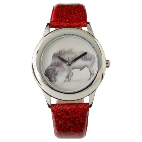 Buffalo-double exposure-american buffalo-landscape wristwatch
