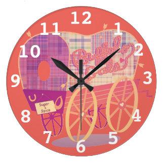Buffalo Gals Wagon round wall clock