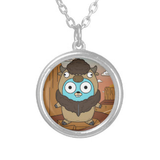 Buffalo Gopher in Desert Silver Plated Necklace