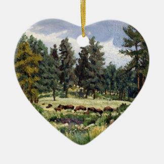 Buffalo Grazing in South Dakota Oil Painting Ceramic Ornament