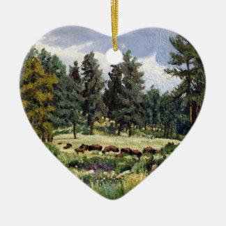 Buffalo Grazing in South Dakota Oil Painting Ceramic Ornament