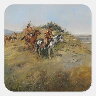 Buffalo Hunt, 1891 (oil on canvas) Square Sticker