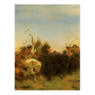 Buffalo Hunt by Wimar, Vintage American West Art Postcard