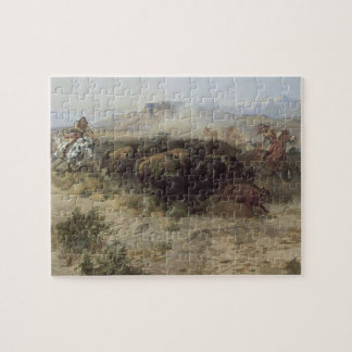 Buffalo Hunt No. 26 by CM Russell, Vintage Indians Jigsaw Puzzle