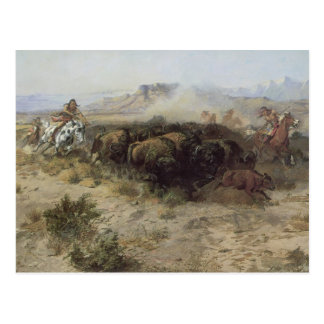 Buffalo Hunt No. 26 by CM Russell, Vintage Indians Postcard