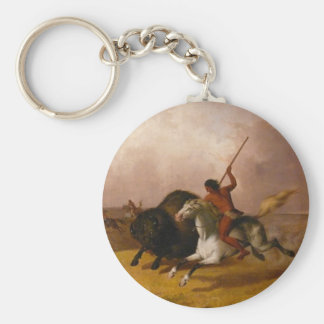 Buffalo Hunt on the Southwestern Plains - 1845 Keychain