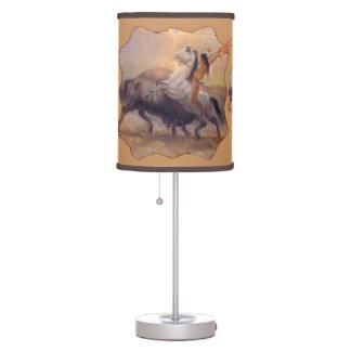 Buffalo Hunter Native American Lamp