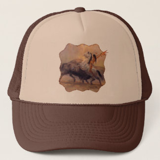 Buffalo Hunter Native American Trucker Hat