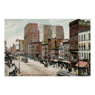 Buffalo, Main St. Looking North, 1907 Poster