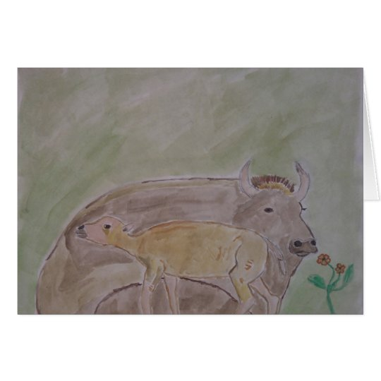 buffalo mother and calf card