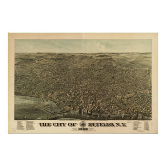 Buffalo New York 1880 Antique Panoramic Map Poster